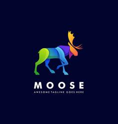 Logo moose deer walking gradient colorful vector
