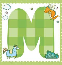 M alphabet letter for kids vector