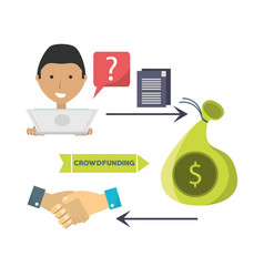 man crowndfunding and business finance support vector image