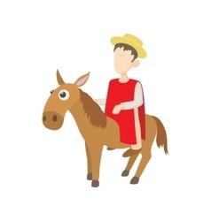 Man riding a donkey icon cartoon style vector