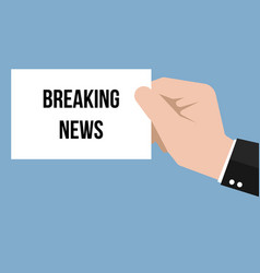 man showing paper breaking news text vector image