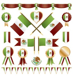 mexico ribbons flags and rosettes vector image