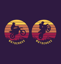 Motocross jump silhouette with sunset background vector