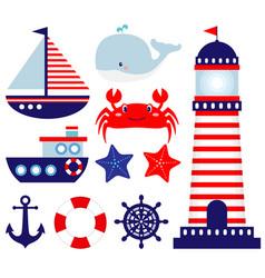 nautical themed badrawings vector image