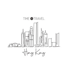 one continuous line drawing hong kong city vector image