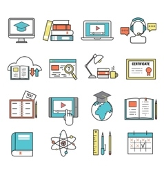Online education ouitline icons set of vector