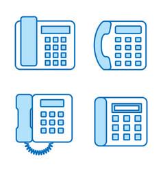 phone flat line icon set vector image