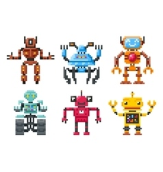 Pixel robots icons 8 bit bots isolated set vector