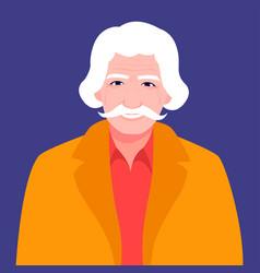 portrait a joyful old man with a mustache vector image