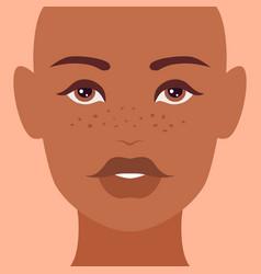 Pretty female face dark-skinned woman vector
