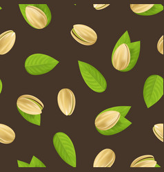 realistic detailed pistachio nuts seamless pattern vector image