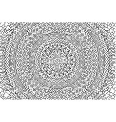 rectangle coloring book art with round pattern vector image
