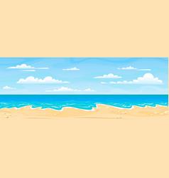 Sea beach landscape cartoon summer sunny day vector