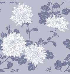 seamless pattern with white chrysanthemum vector image