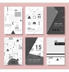 Set invitation with geometric shapes vector