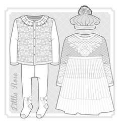 set knitted items for a toddler girl vector image