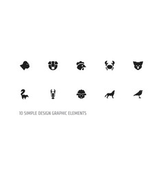 set of 10 editable zoology icons includes symbols vector image