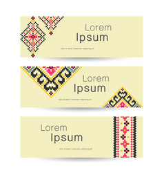 set of 3 tribal banners ethnic business vector image