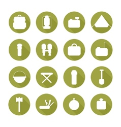 Set of silhouette pictogram camping equipment vector