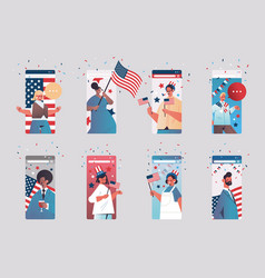 Set people celebrating 4th july american vector
