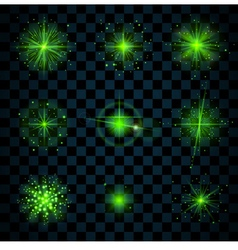 Shine green stars glitters sparkles vector
