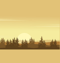 Silhouette of hill scenery with spruce vector