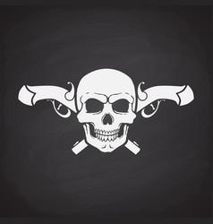 Silhouette skull jolly roger with crossed pistols vector