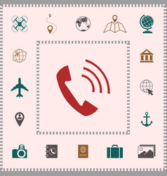 telephone handset telephone receiver icon vector image