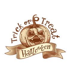 Trick or treat retro halloween sketch vector