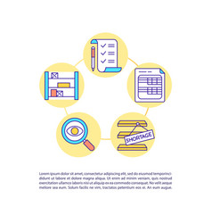 Warehouse inventory audit concept icon with text vector