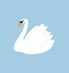 white bird feathered in a flat style isolated on vector image