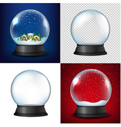 Winter snow globe collection vector