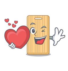 With heart wooden cutting board mascot cartoon vector