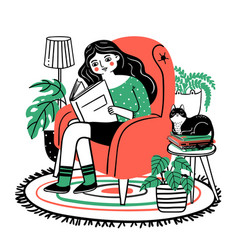 woman reads in chair happy relaxed girl reading vector image
