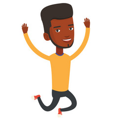 Young african-american man jumping vector