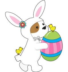 Cute Puppy Bunny Suit vector image