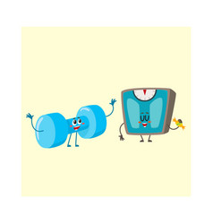 Funny dumbbell and scale characters with human vector