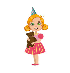 girl with teddy bear part of kids at the birthday vector image vector image