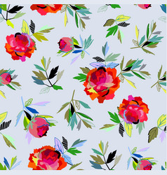 Seamless abstract floral pattern red for girl vector