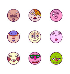 set of colorful face avatar expression icons vector image