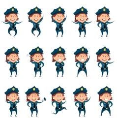 Set of police women flat icons vector image vector image