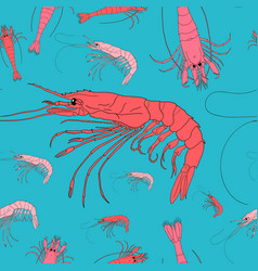 shrimp seamless background seafood pattern vector image vector image
