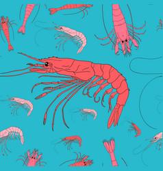 shrimp seamless background seafood pattern vector image