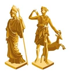 wo Greek Golden statues of warrior and shepherd vector image