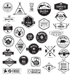 30 Hand sketched Vintage style logos vector image vector image