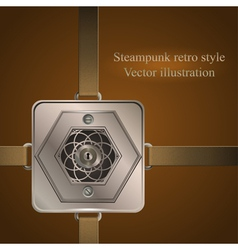 background with metallic banner steampunk vector image