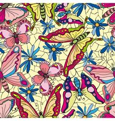 butterflies and flowers wallpaper vector image vector image