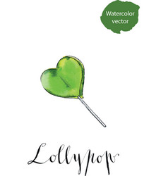 colorful lollypop green heart candy love concept vector image vector image