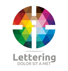 Logo Abstract Lettering I Rainbow Alphabet Icon vector image vector image