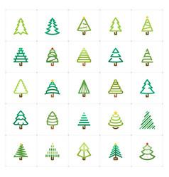 mini icon set - christmas tree icon vector image